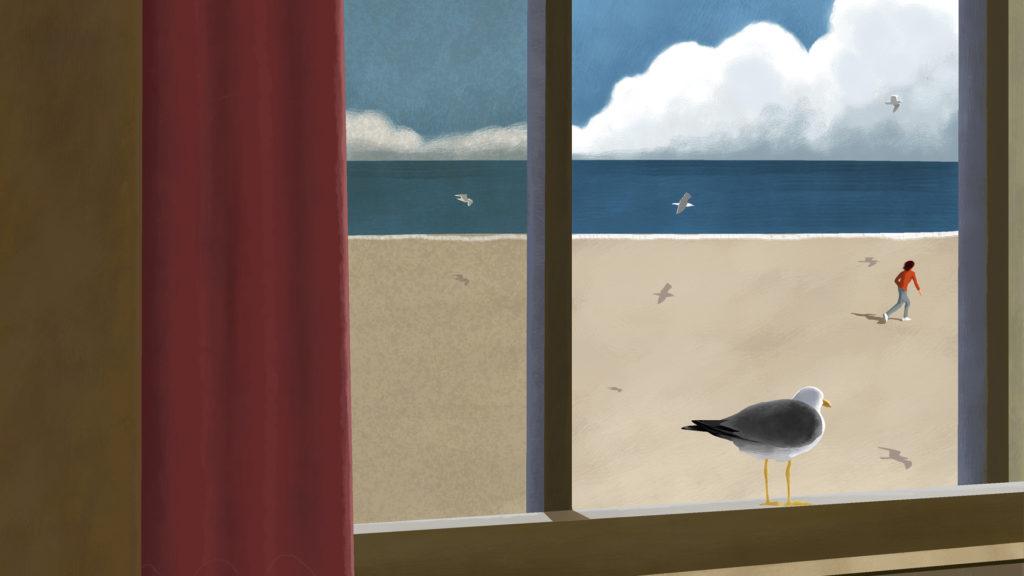 En mås står på ett fönsterbräde och ser mot en sandstrand med en människa som springer. Målning.